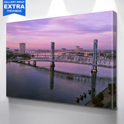 Jacksonville Bridges Pink Dusk Sky Canvas Wall Art Canvas Art