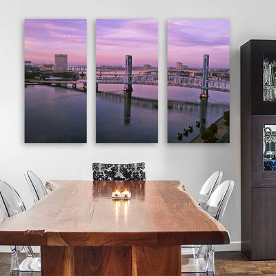 Jacksonville Bridges Pink Dusk Sky Canvas Wall Art Multi Panel Canvas Wall Art
