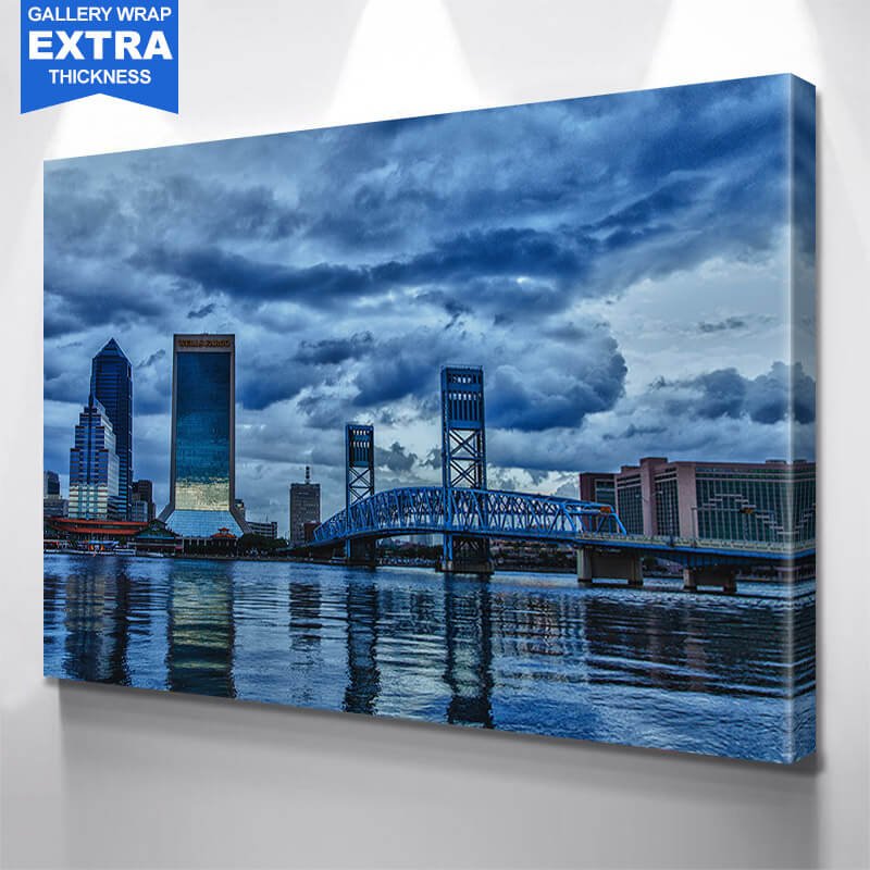 Jacksonville Main Street Bridge Cloudy Wall Art Canvas Art