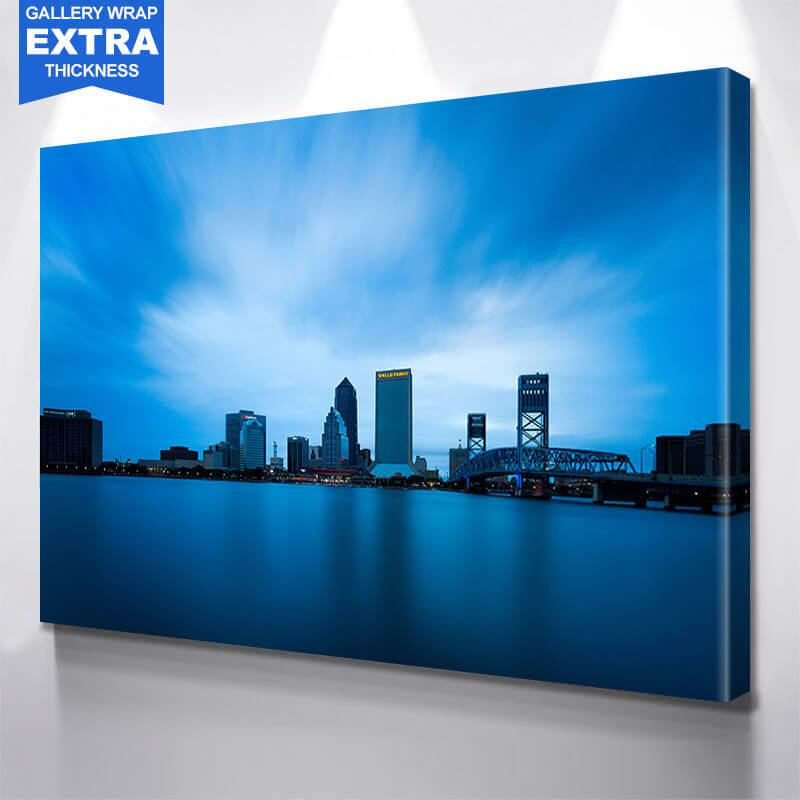 Jacksonville Amazing Blue Downtown Skyline Wall Art Canvas Art