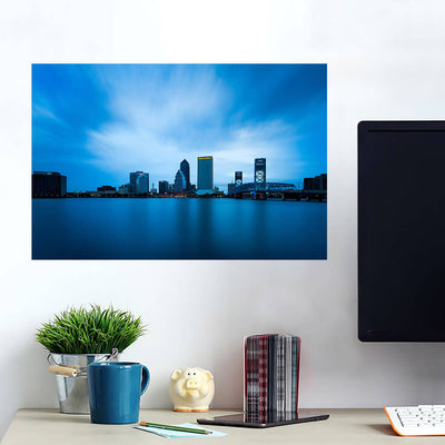 Jacksonville Amazing Blue Downtown Skyline Wall Art Wall Decal Wall Art
