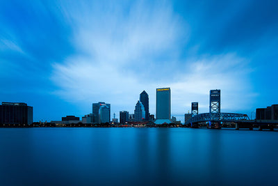 Jacksonville Amazing Blue Downtown Skyline Wall Art High Quality Print Wall Art