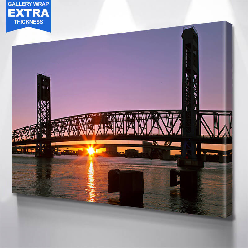Amazing Dusk Main Street Bridge Wall Art Canvas Art