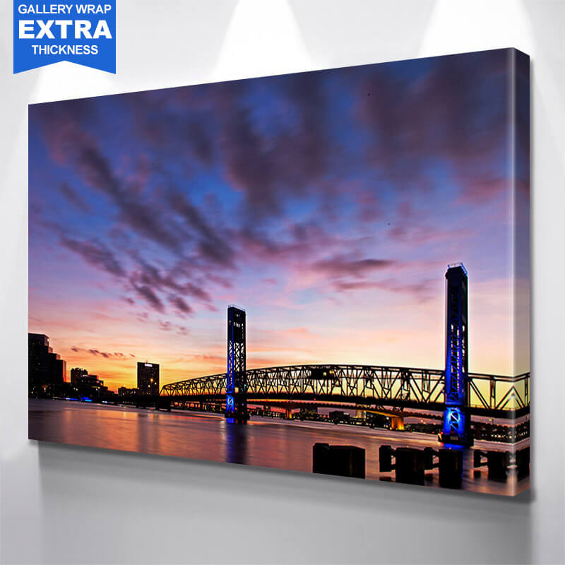 Illuminated Night Main Street Bridge Jacksonville Wall Art Canvas Art