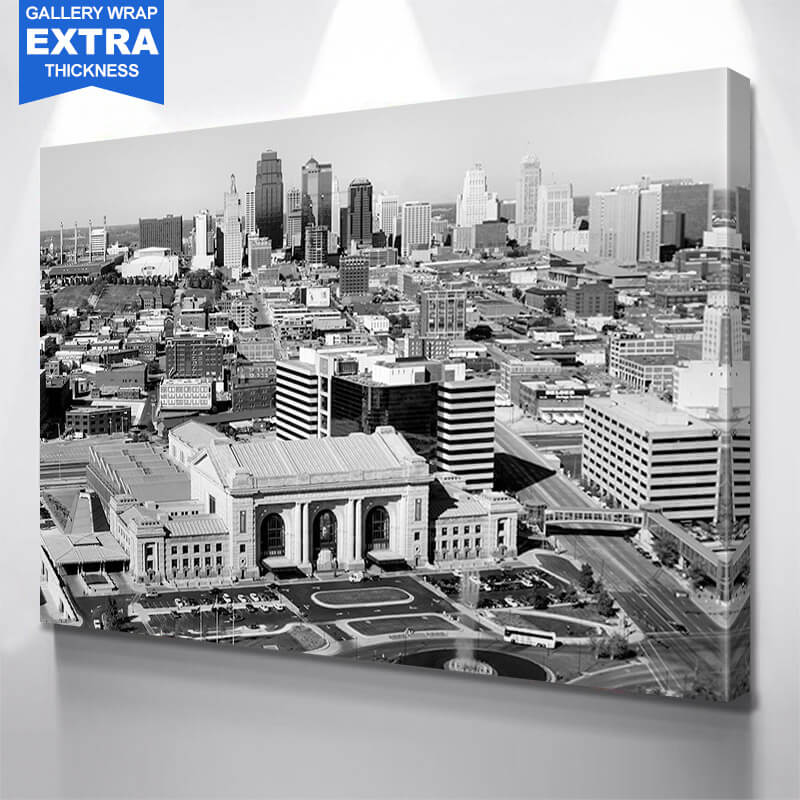 Kansas City Black & White  Skyline Wall Art Canvas Art