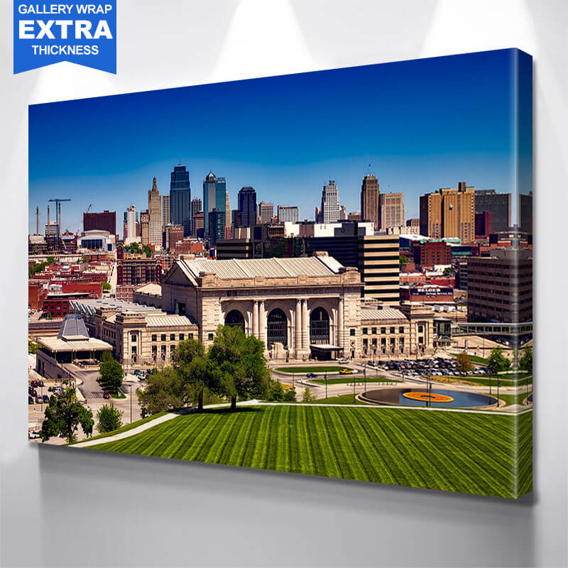 Kansas City Starry Night  Skyline Wall Art Canvas Art