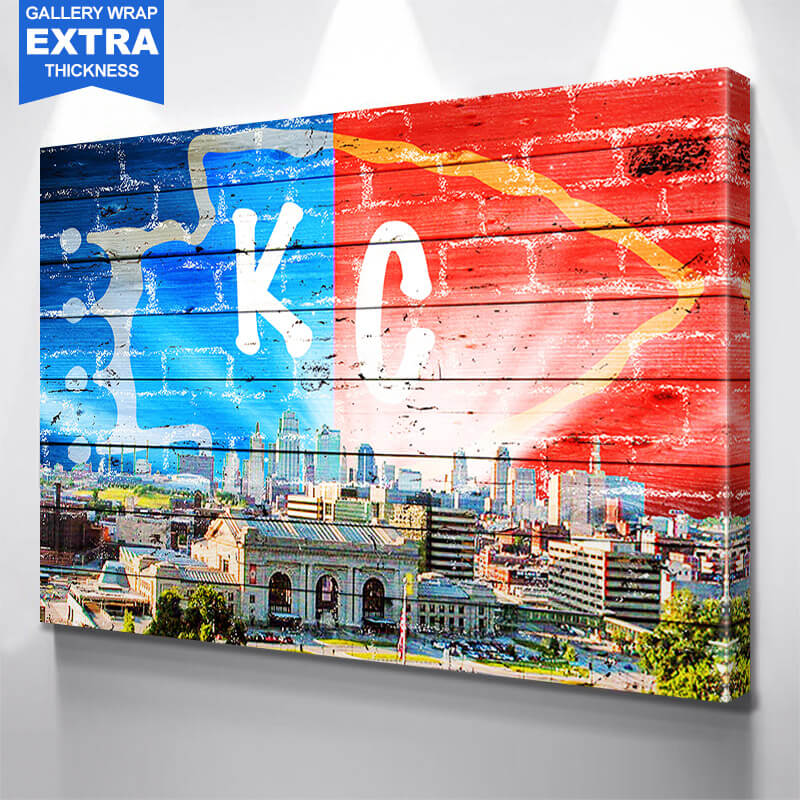 Kansas City Sunny Skyline Wall Art Canvas Art