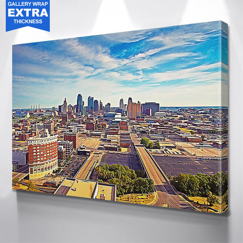 Kansas City Skyline Blue Sky Wall Art Canvas Art