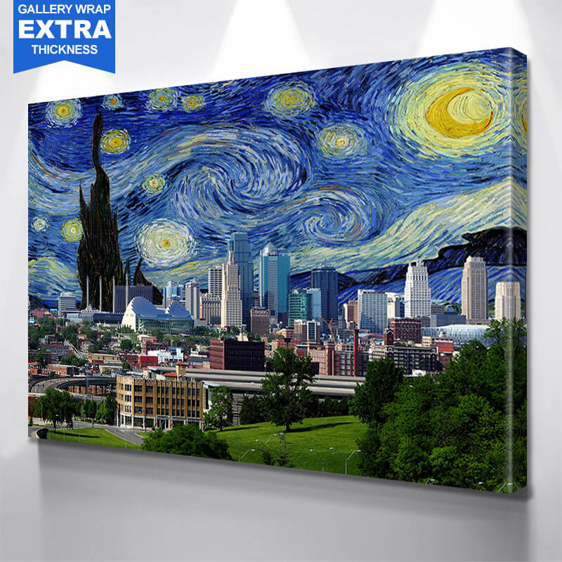 Kansas City Perfect Day Skyline Photography Wall Art Canvas Art