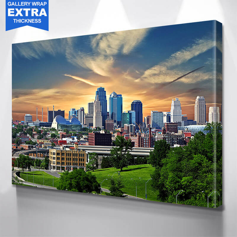 Kansas City American Flag Skyline Wall Art Canvas Art