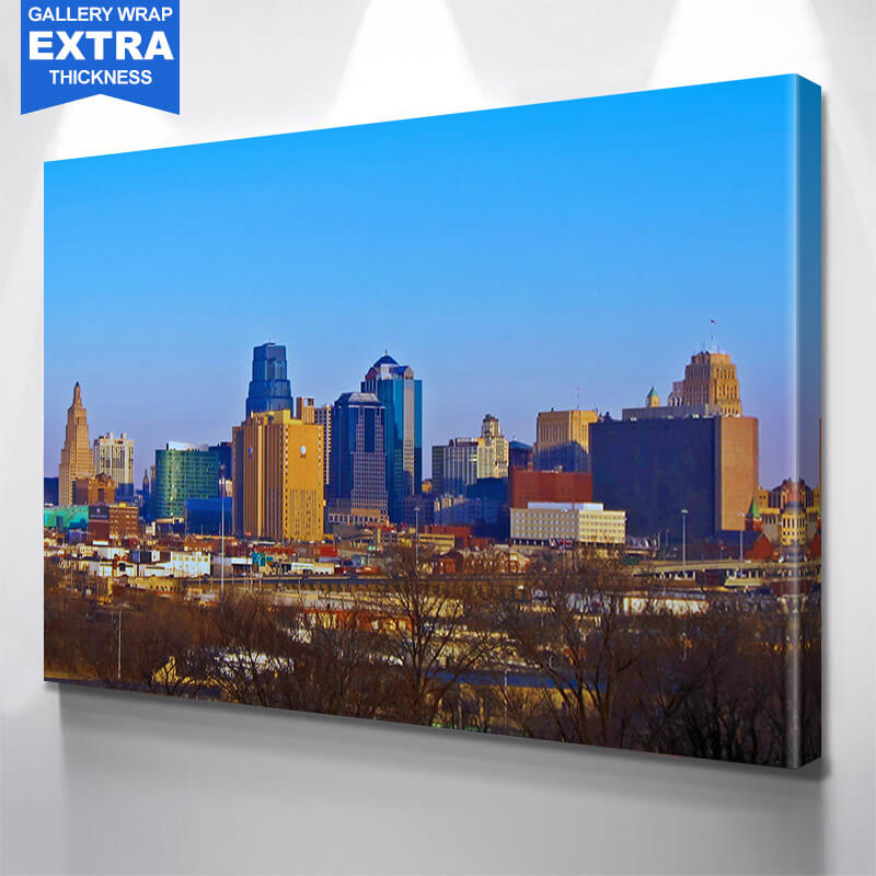 Kansas City Blue Winter Skyline Wall Art Canvas Art