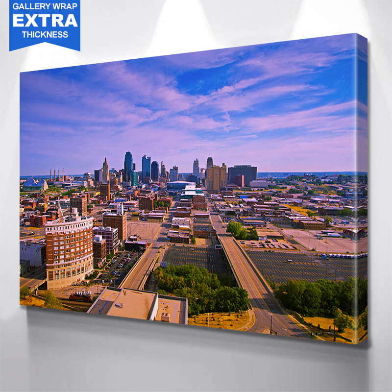 Kansas City Aerial  Skyline Wall Art Canvas Art