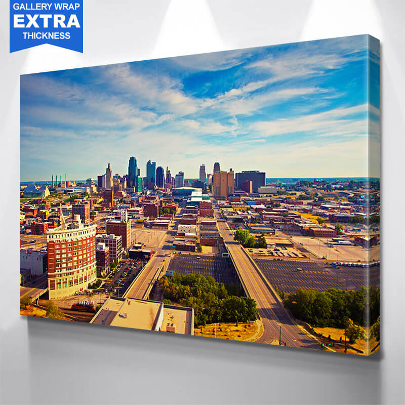 Aerial Sunny Kansas City Skyline Wall Art Canvas Art