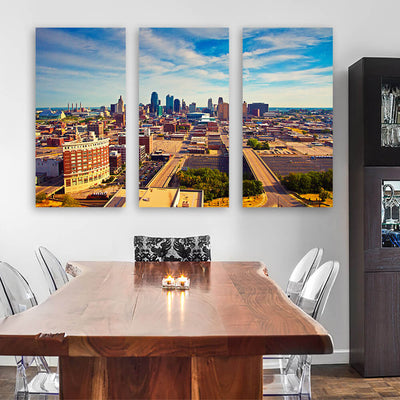 Aerial Sunny Kansas City Skyline Wall Art - Zapwalls