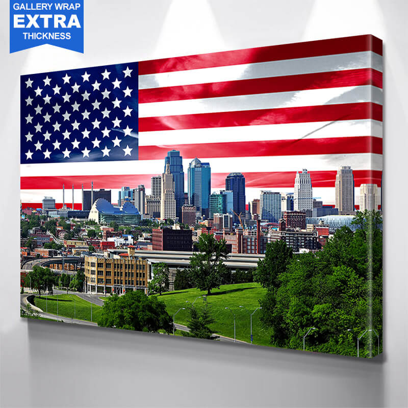 Blue Cloudy Kansas Skyline Wall Art Canvas Art