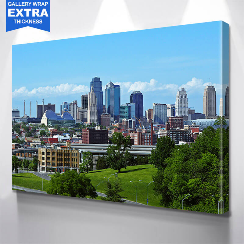 Kansas City Skyline Black & White Pop Color Wall Art Canvas Art