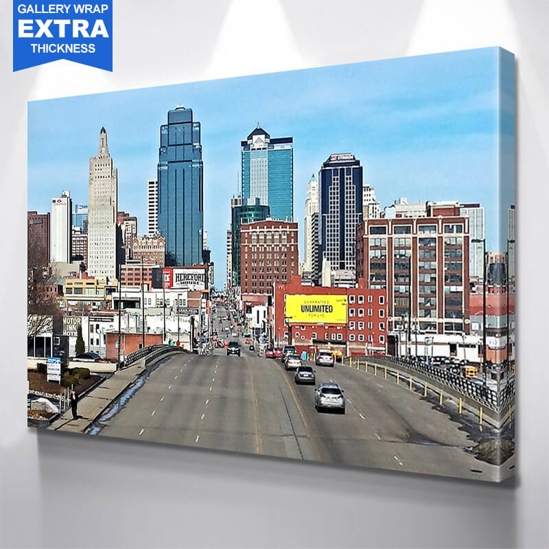 Kansas City Amazing  Skyline Wall Art Canvas Art