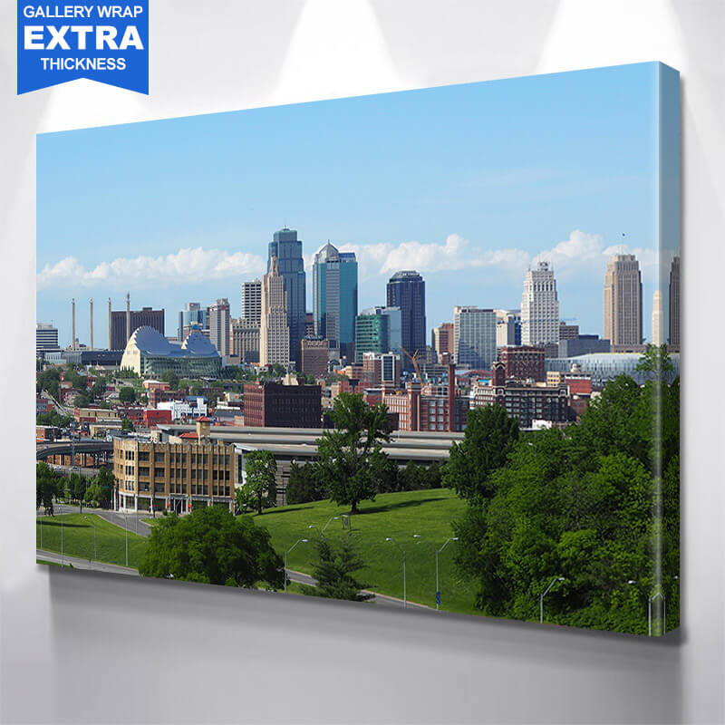 Kansas City Skyline View From Museum Of Arts Wall Art Canvas Art