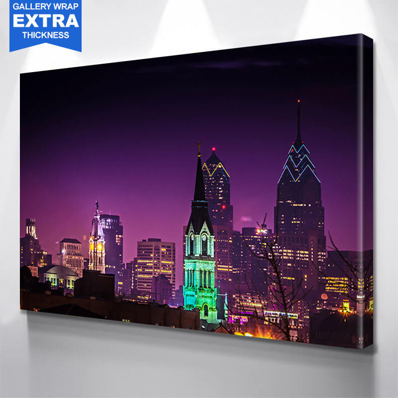 Philadelphia Purple Downtown Wall Art Canvas Art