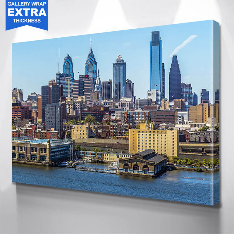 Philadelphia Beautiful Day Skyline Wall Art Canvas Art