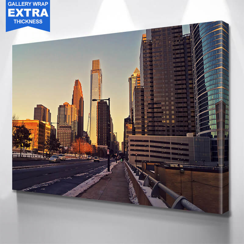 Philadelphia Winter Downtown Wall Art Canvas Art