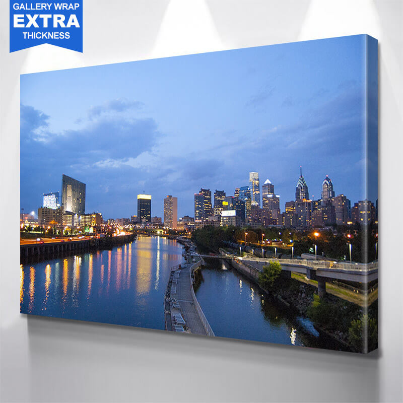 Blue Philadelphia River View Wall Art Canvas Art
