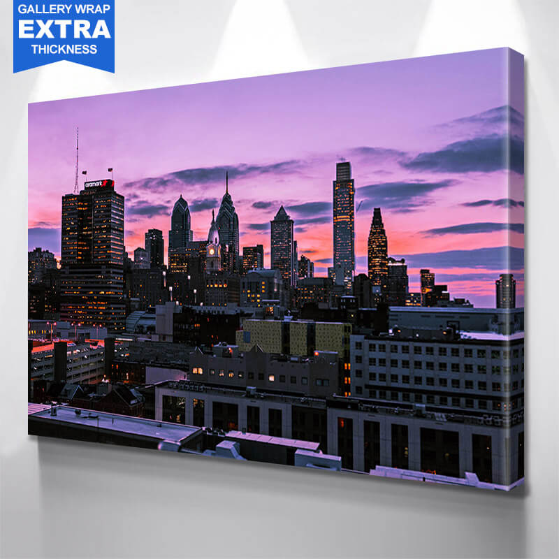 Amazing Dusk Philadelphia Skyline Wall Art Canvas Art