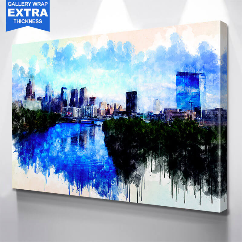 Philadelphia Watercolor Wall Art Canvas Art