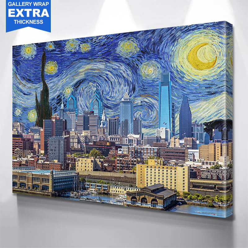 Philadelphia Starry Night Skyline Wall Art Canvas Art