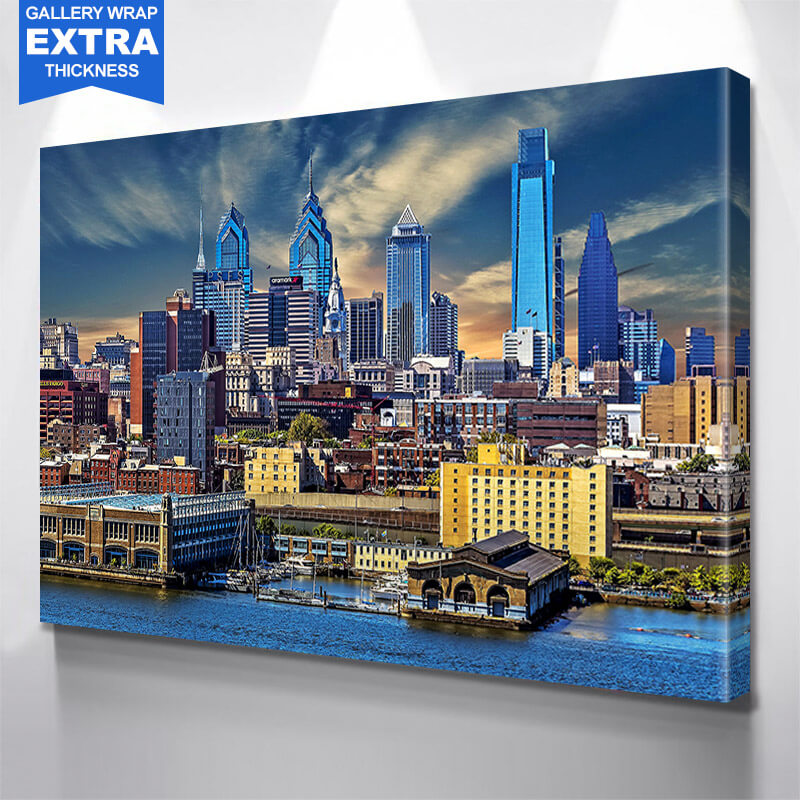 Philadelphia Sunny Skyline Wall Art Canvas Art