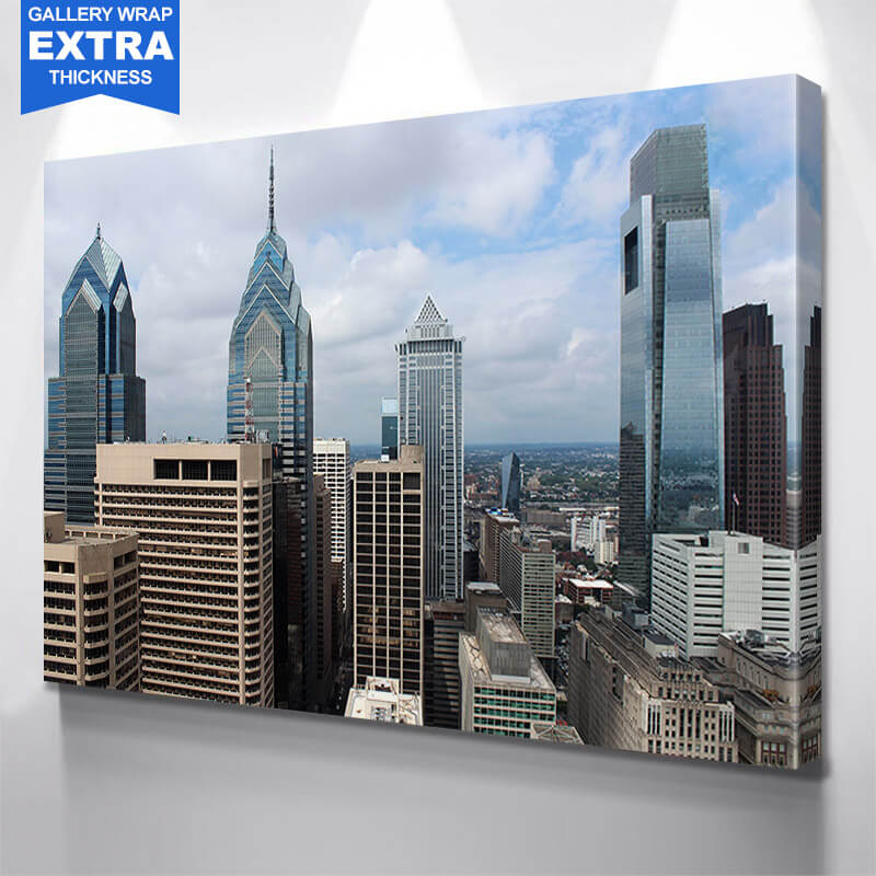 Philadelphia Downtown Cloudy Wall Art Canvas Art