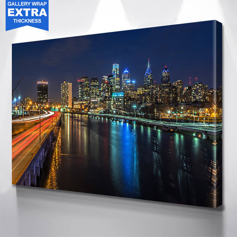 Philadelphia Amazing Night River Wall Art Canvas Art