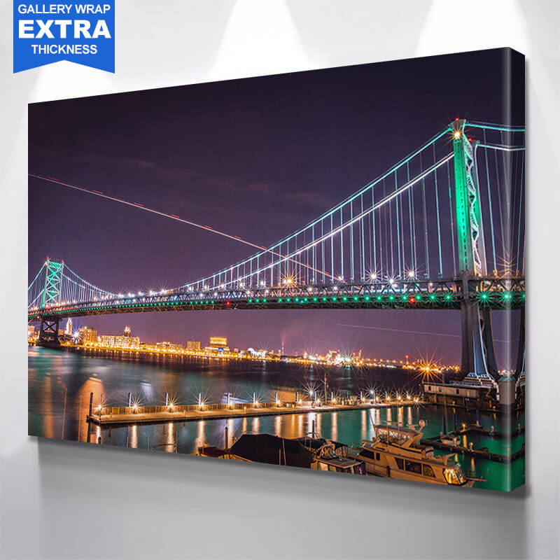 Benjamin Franklin Bridge Green Philadelphia Wall Art Canvas Art