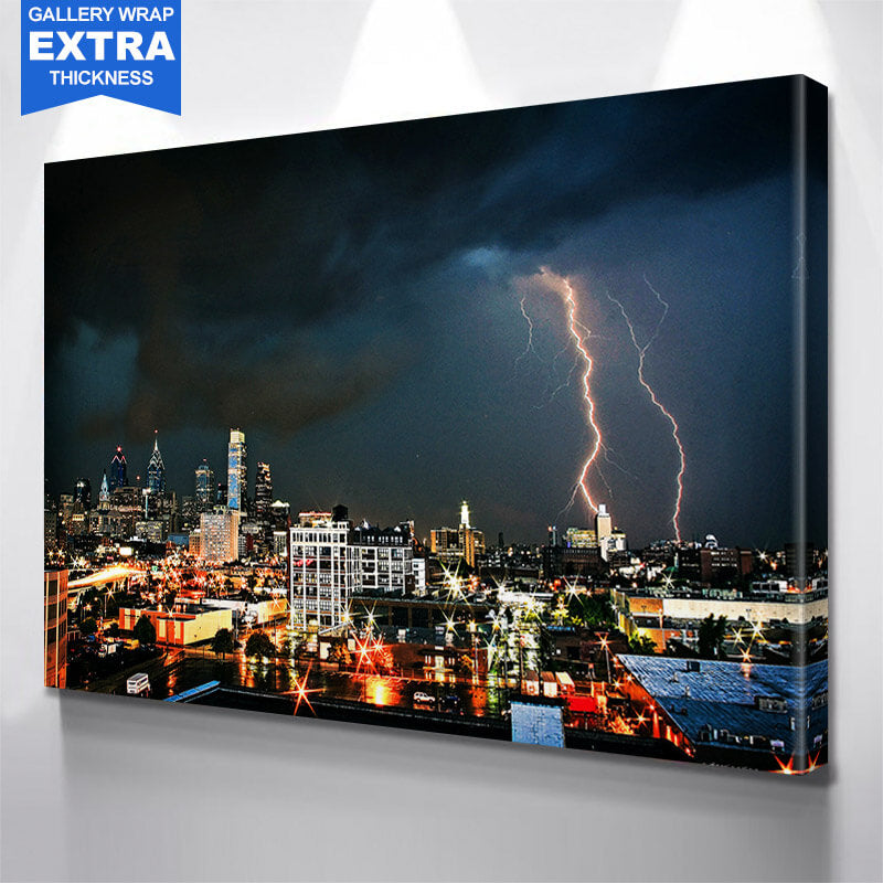 Philadelphia Stormy Skyline Wall Art Canvas Art