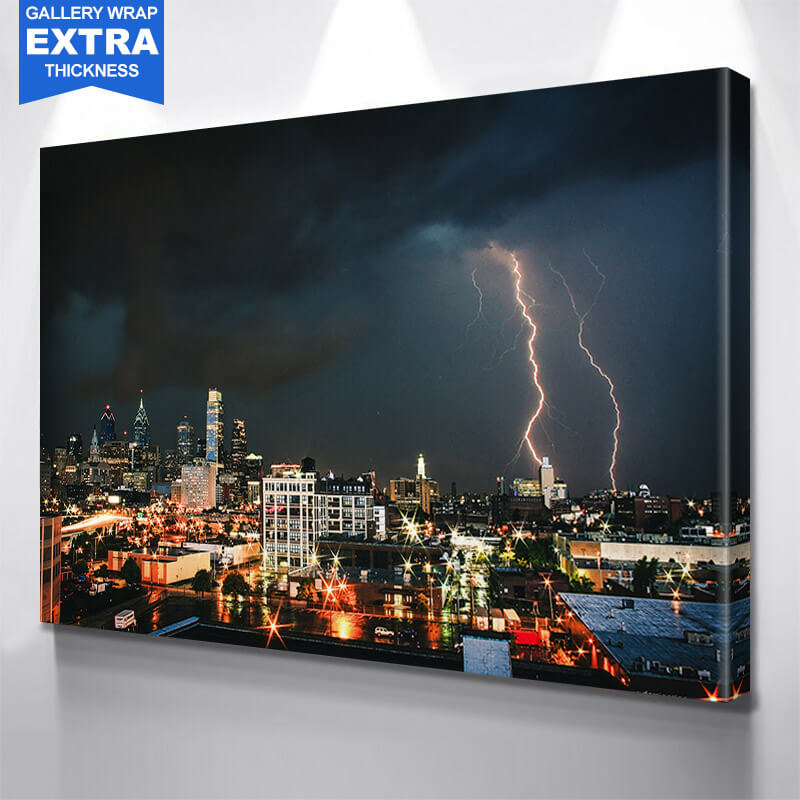 Philadelphia Lighting Skyline Wall Art Canvas Art
