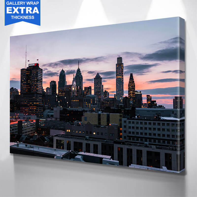Philadelphia Dusk Skyline Wall Art Canvas Art