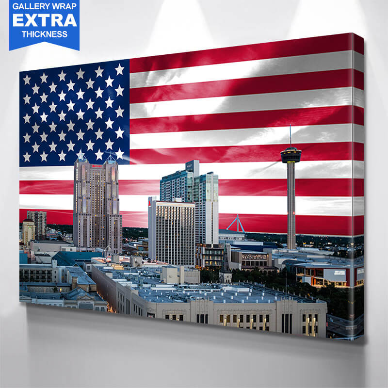 San Antonio Skyline American Flag Wall Art Canvas Art