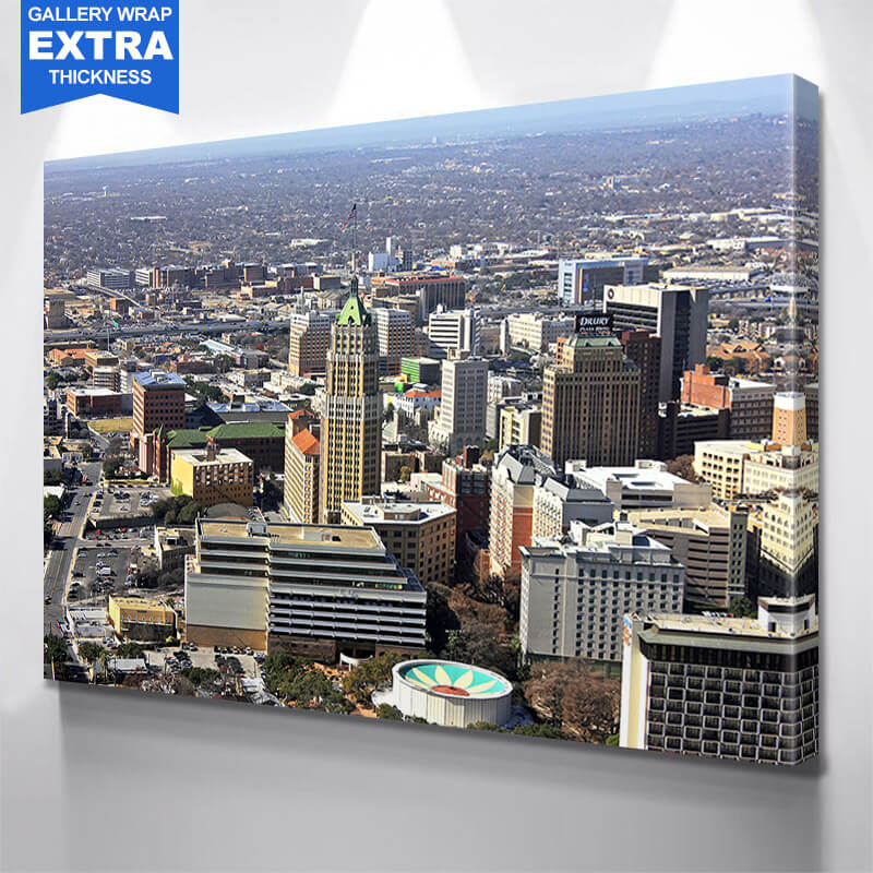 Aerial San Antonio Skyline Wall Art Canvas Art