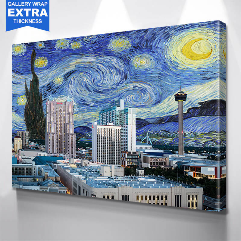 San Antonio Starry Night  Wall Art Canvas Art