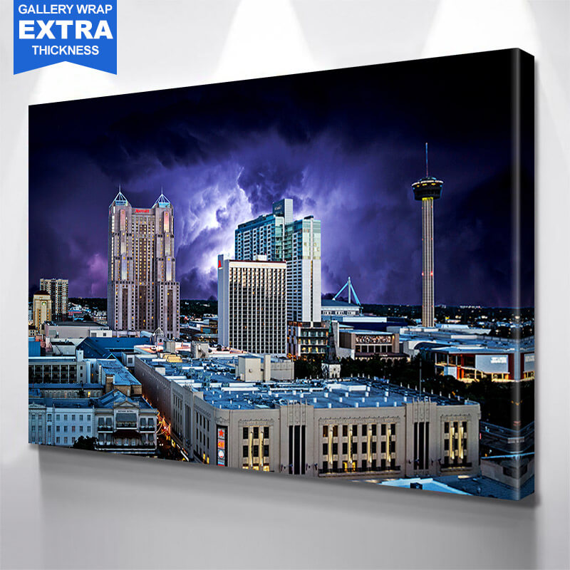 San Antonio Skyline Stormy  Wall Art Canvas Art