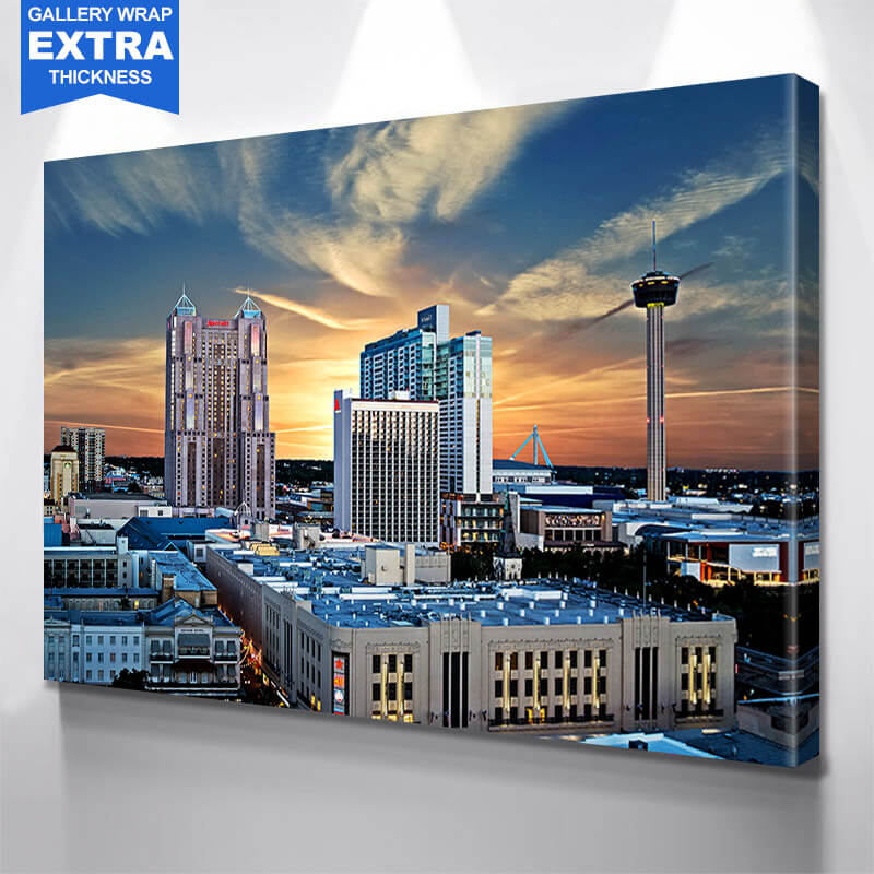 San Antonio Skyline Sunny  Wall Art Canvas Art