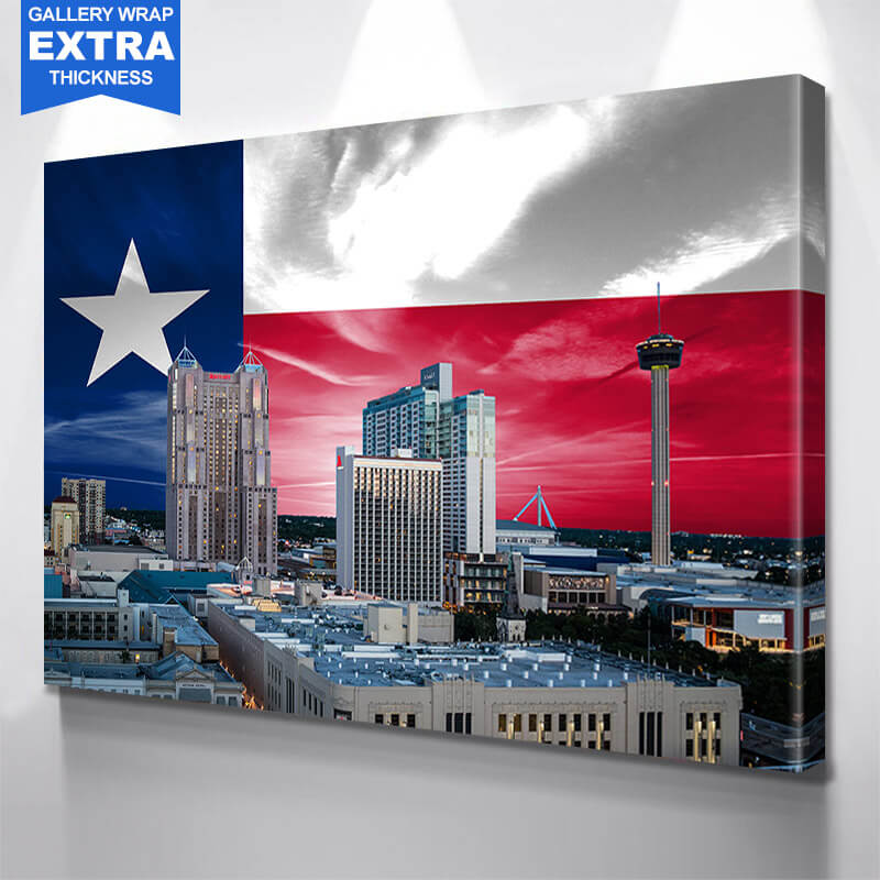 San Antonio Skyline Texas Flag  Wall Art Canvas Art