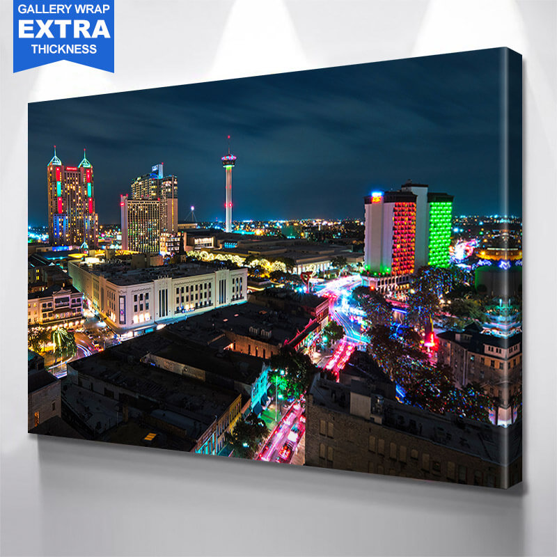 San Antonio Skyline Amazing Glow  Wall Art Canvas Art