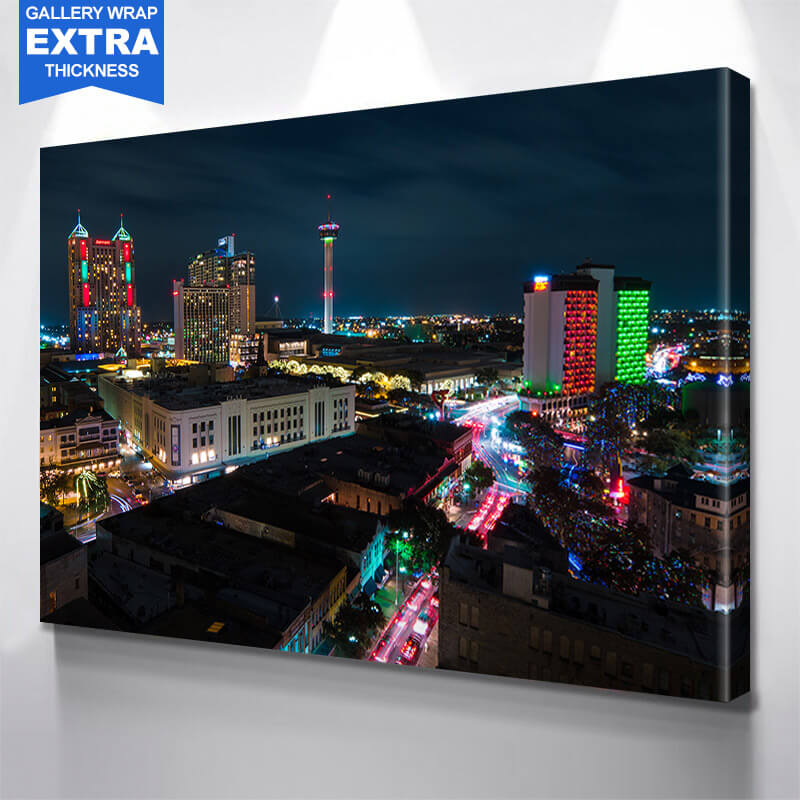 San Antonio Skyline Night Wall Art Canvas Art