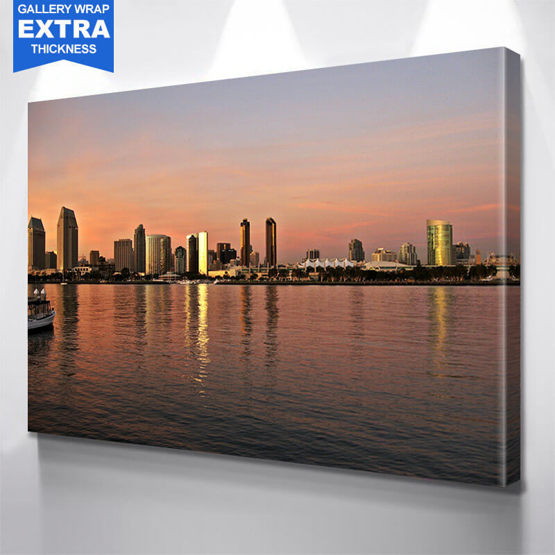San Diego Skyline Amazing Dusk  Wall Art Canvas Art