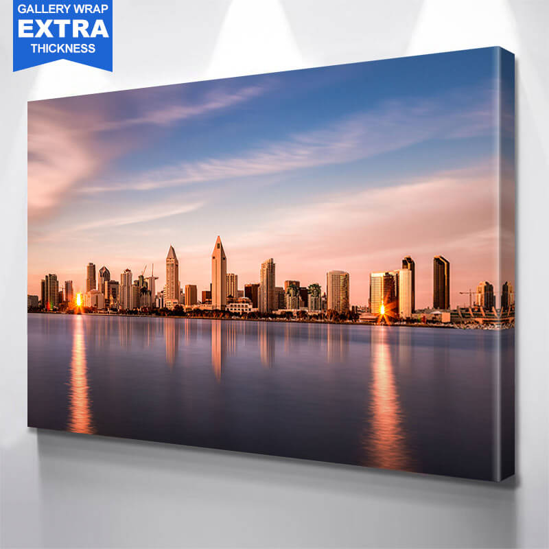 San Diego Skyline Dusk  Wall Art Canvas Art