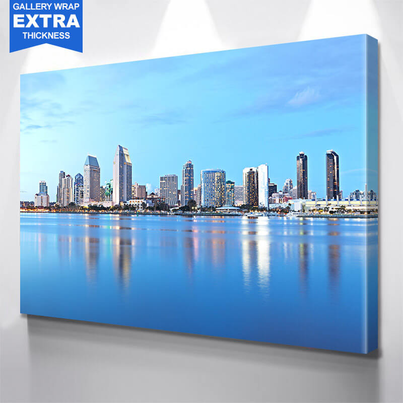 San Diego Skyline Blue  Wall Art Canvas Art