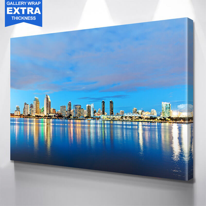 San Diego Blue Ocean Skyline Wall Art Canvas Art
