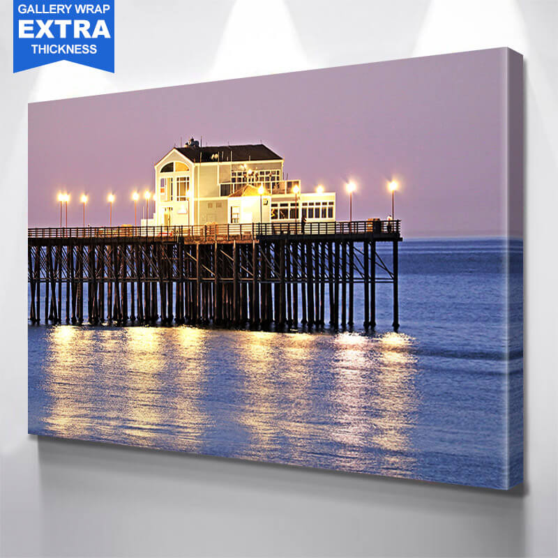 San Diego Pier Dusk Wall Art Canvas Art