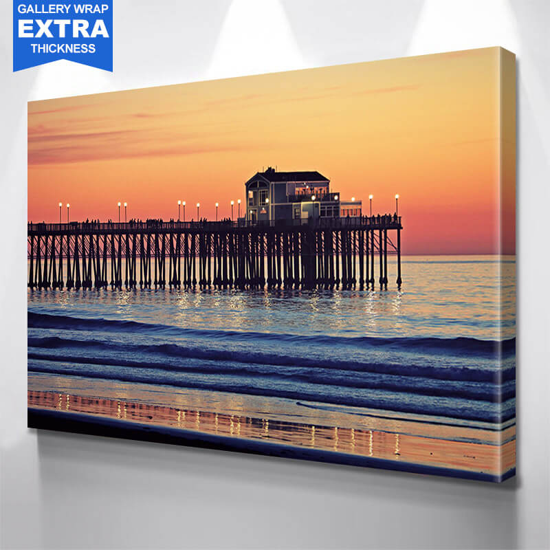San Diego Pier Amazing Sun  Wall Art Canvas Art